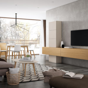 Muebles de salón en madera lacada