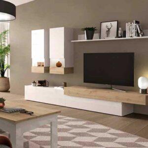 Muebles de salón en efecto de madera